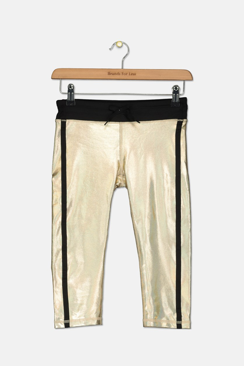 Metallic Capri Leggings, Gold/Black
