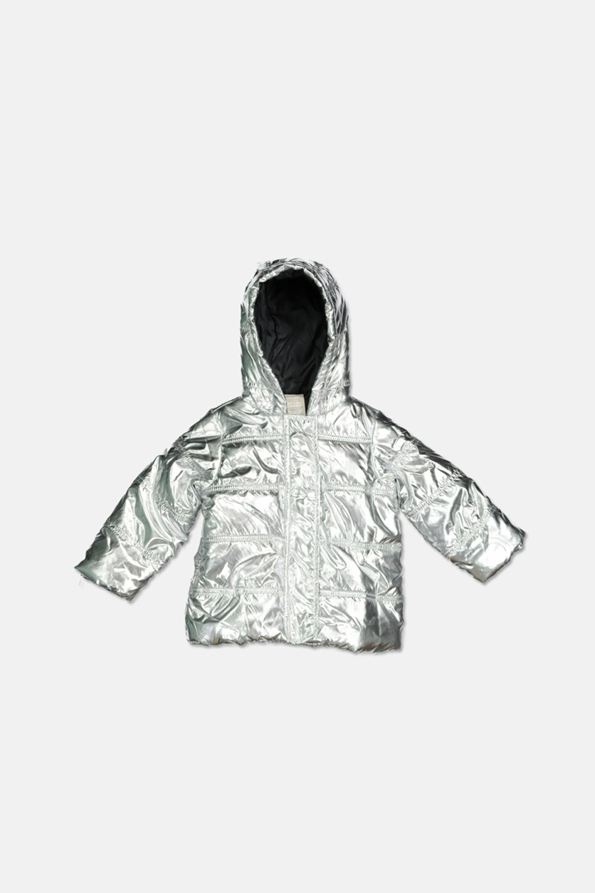 Baby Boys & Girls Metallic Puffer Jacket, Silver