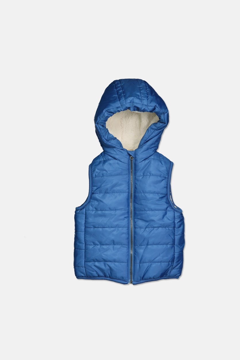 Baby Boys Reversible Hooded Puffer Vest, Evening Blue