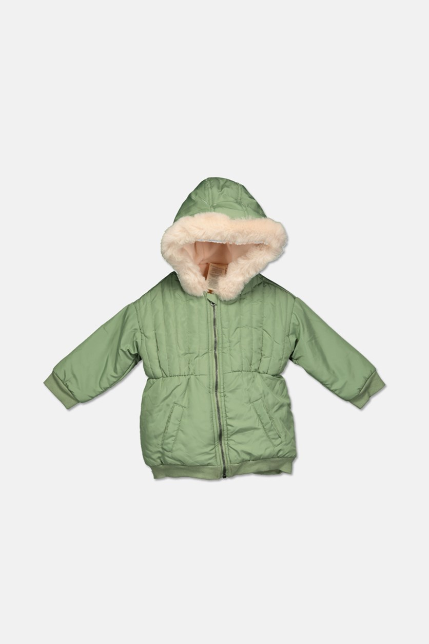 Baby Girls Hooded Parka with Faux-Fur Trim, Pine Nut