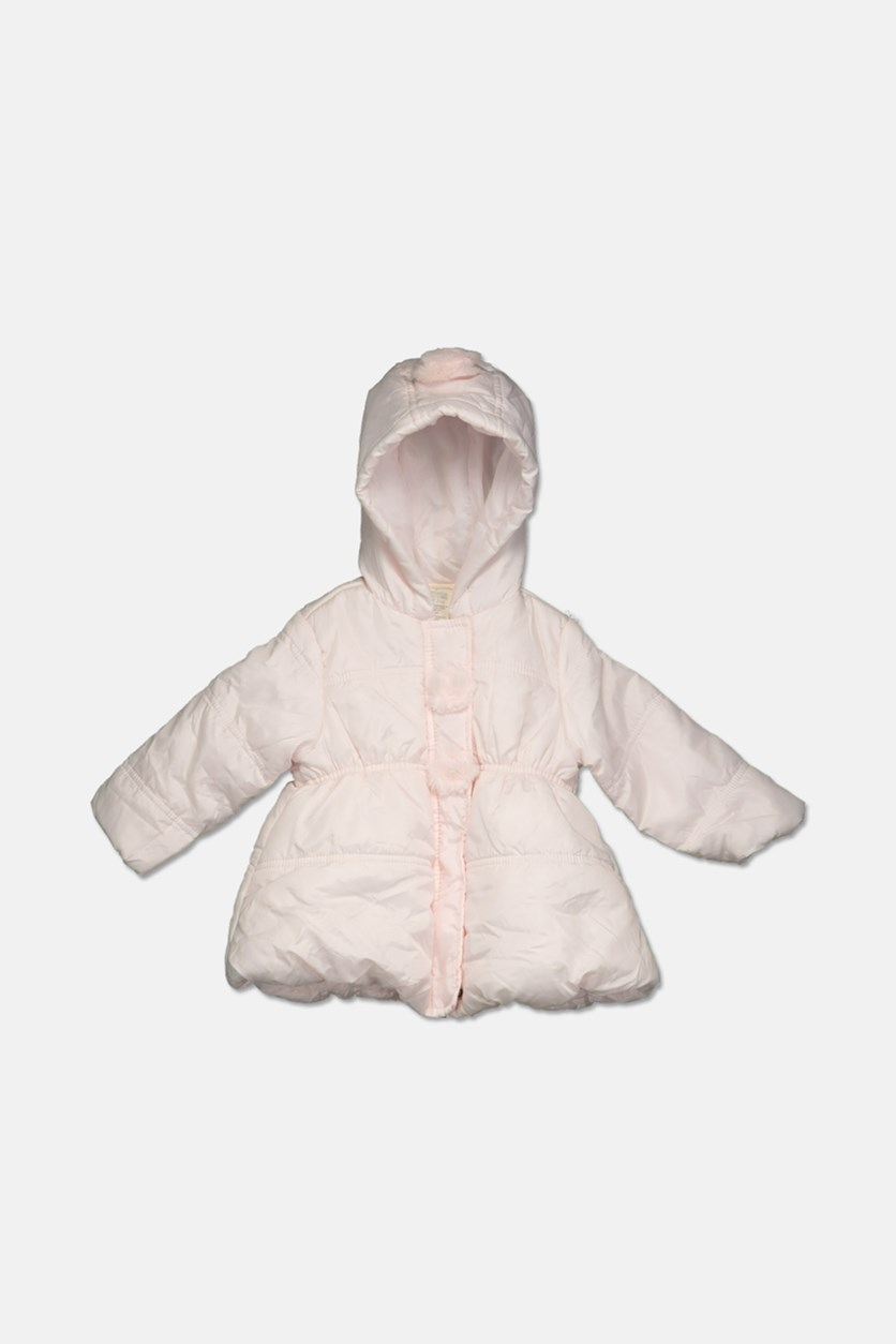 Baby Girls Pom-Poms Hooded Jacket, Faintest Pink