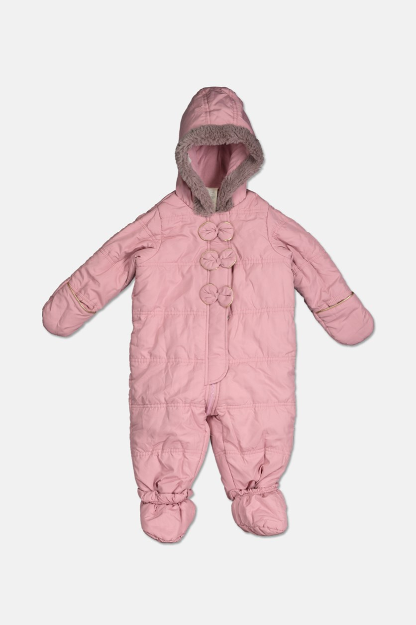 Baby Girls Hooded Bows Footed Snowsuit, Sugar Lilac