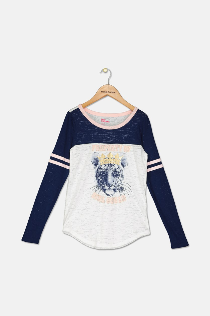 Big Girls T-Shirt, Navy Combo
