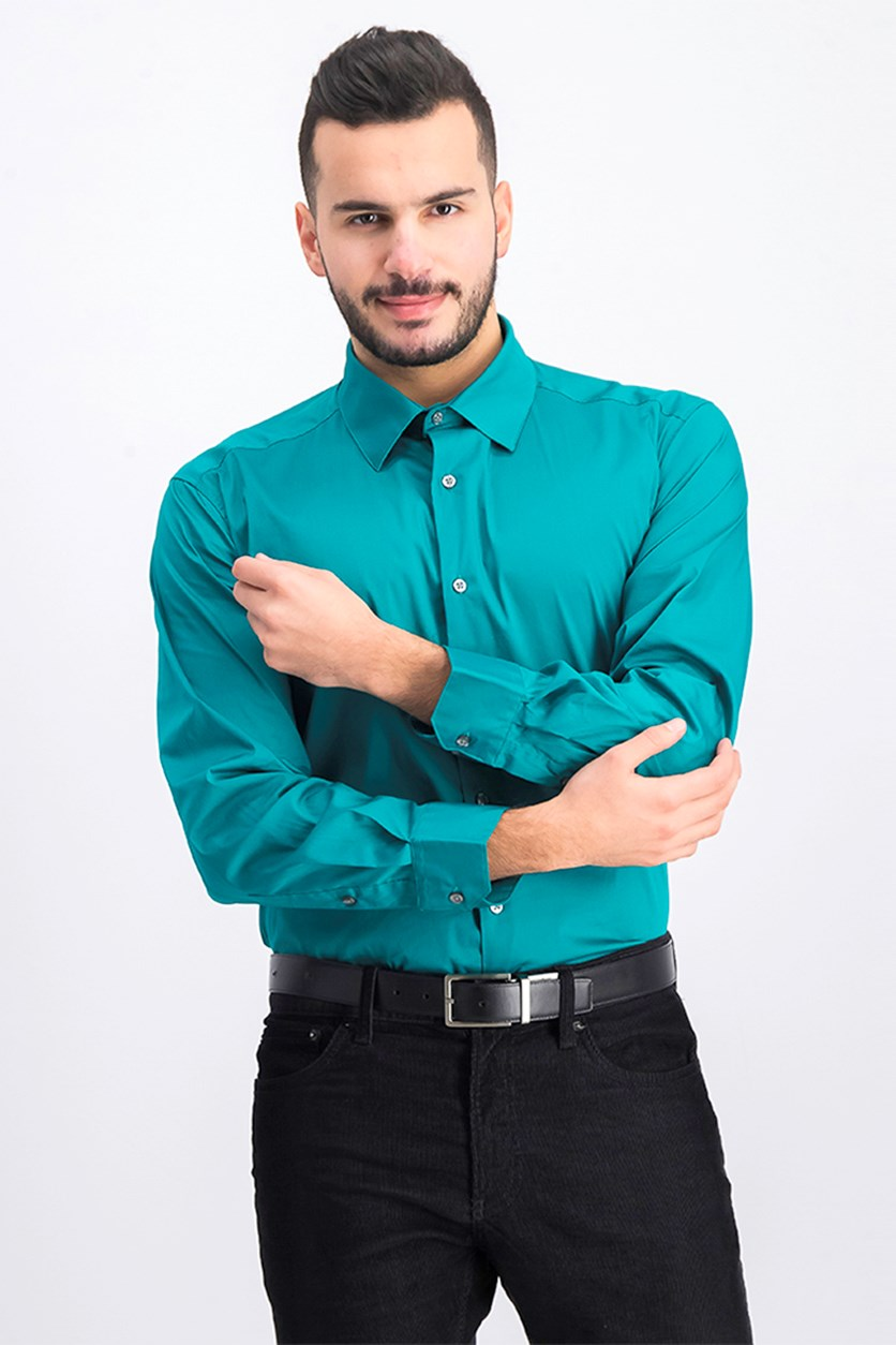 Slim-Fit Stretch Performance Dress Shirt, Green
