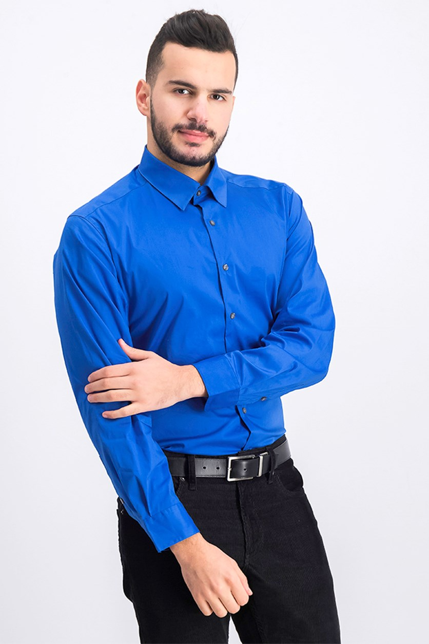 Men's Solid Athletic Fit Dress Shirt, Royal Blue