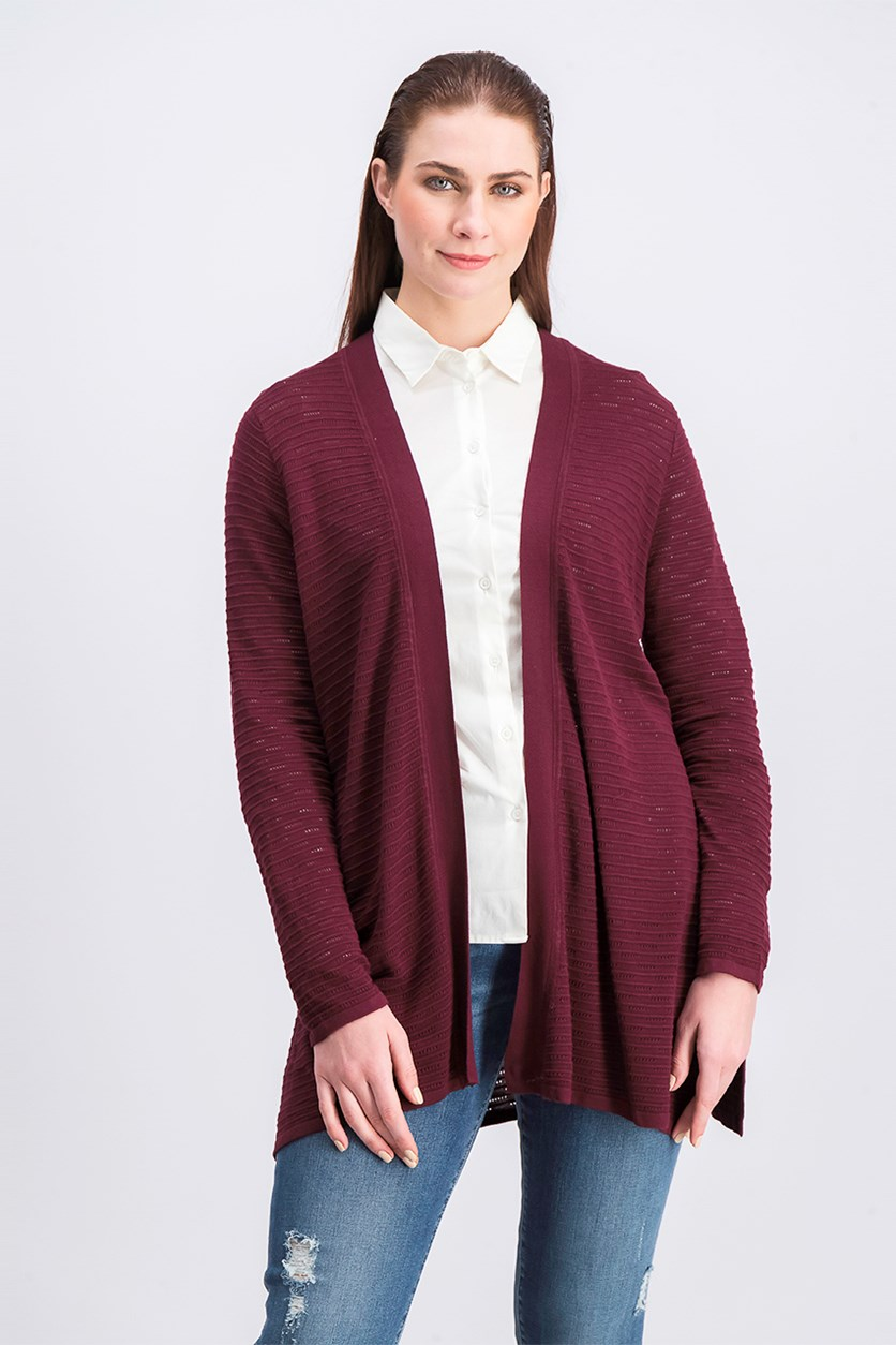 Pointelle Ribbed-Knit Cardigan, Marooned