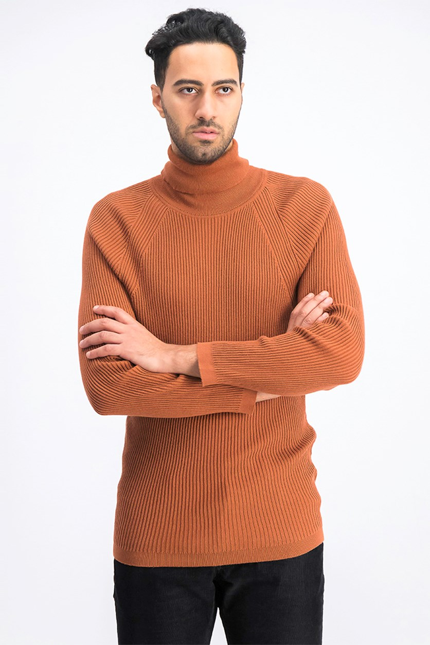 Men's Ribbed Turtleneck Sweater, Ravishing Rust