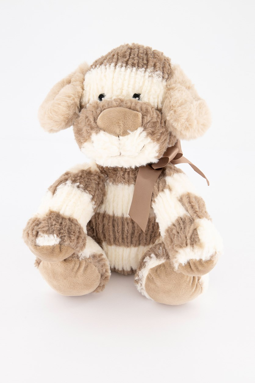 Striped Sweater Bear Plush with Rattle, Taupe