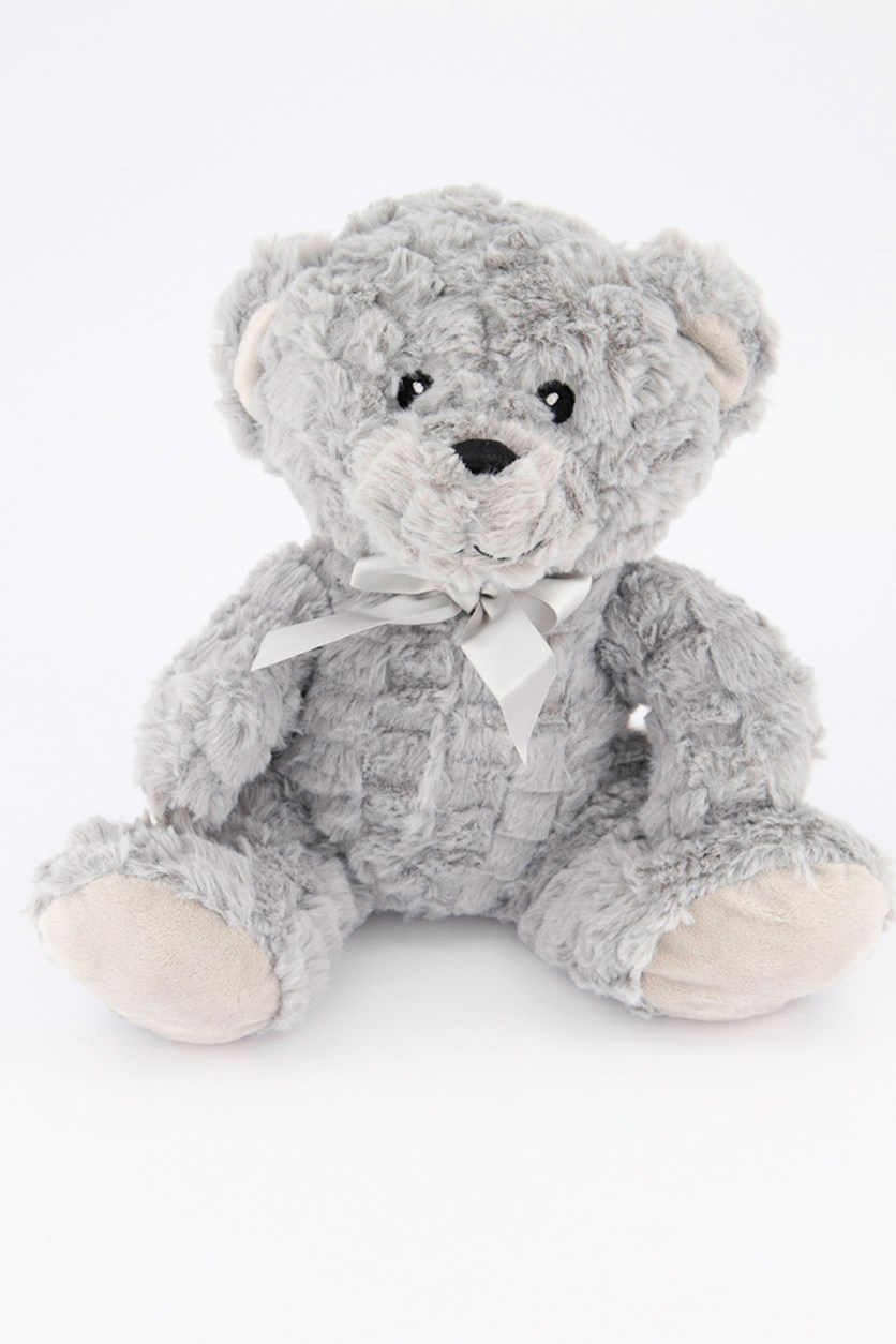 Bear Plush With Rattle, Light Grey