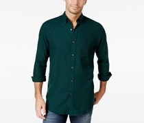 John Ashford Men's Long-Sleeve Herringbone Shirt, Dark Forest