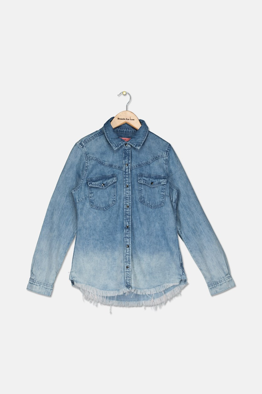 Girl's Denim Collared Shirt, Acid Flash