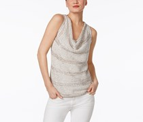 INC Women's Metallic Scoop Neck Tank Top, White/Grey