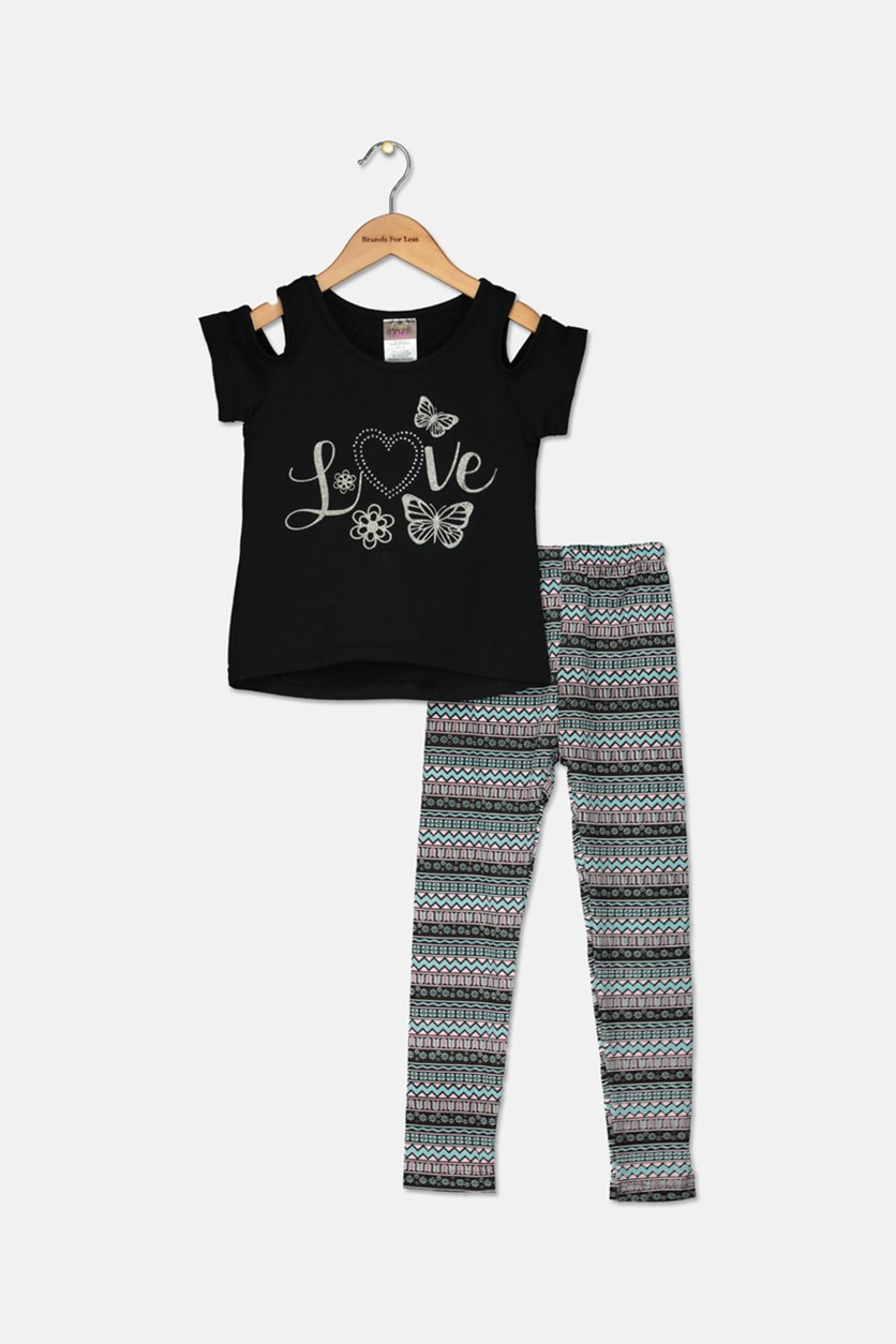 Toddler Girl's Fashion Top And Legging Set, Black Combo