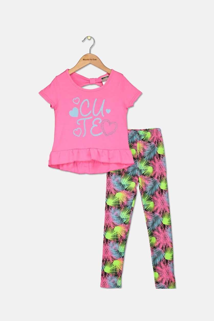 Toddler Girl's Fashion Top And Legging Set, Pink/Lime/Black