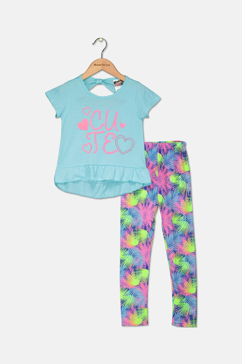 Toddler Girl's Fashion Top And Legging Set, Blue/Lime/Navy/Pink