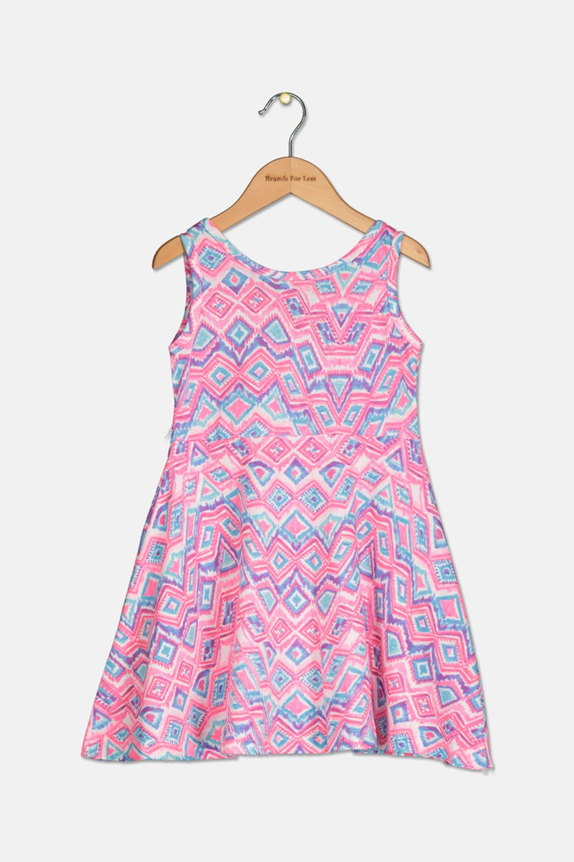 Toddler Girl's Printed Sleeveless Dress, Pink/Blue