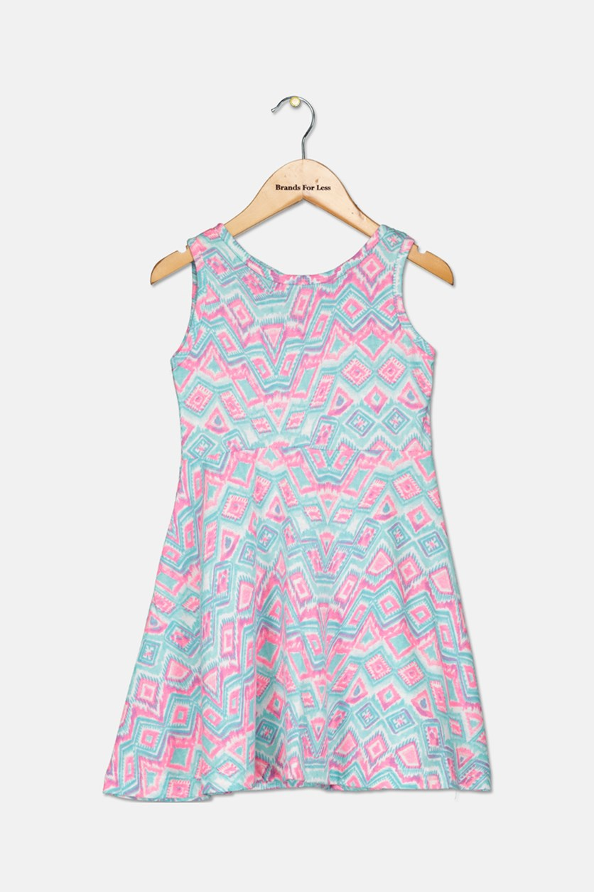 Girl's Printed Sleeveless Dress, Mint/Pink
