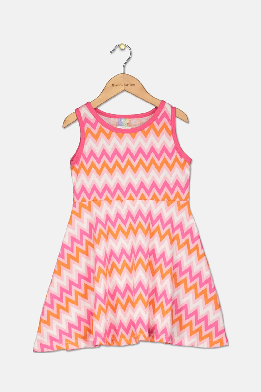 Little Girls Chevron Print Dress, Pink/Orange/White