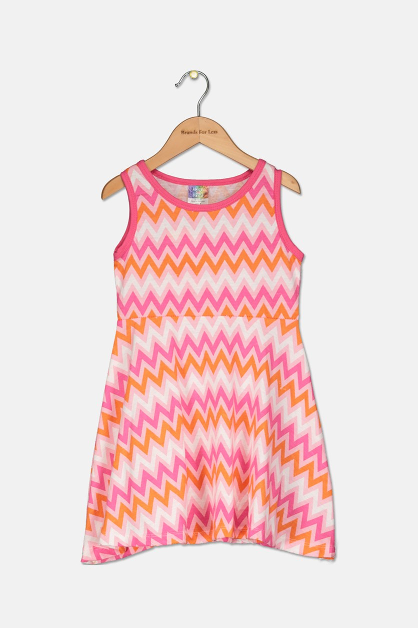 Kids Girls Chevron Print Dress, Pink/Orange/White