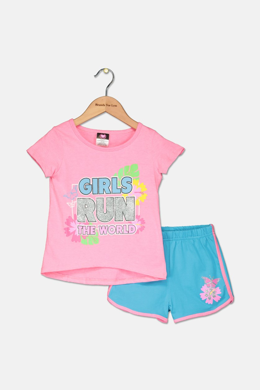 Toddler Girl's Knit Top And Short Set, Pink/Turquoise