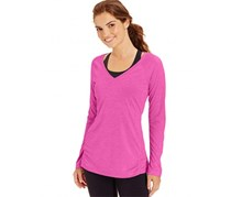 Ideology Women's Heathered Long-Sleeve Tee, Pink