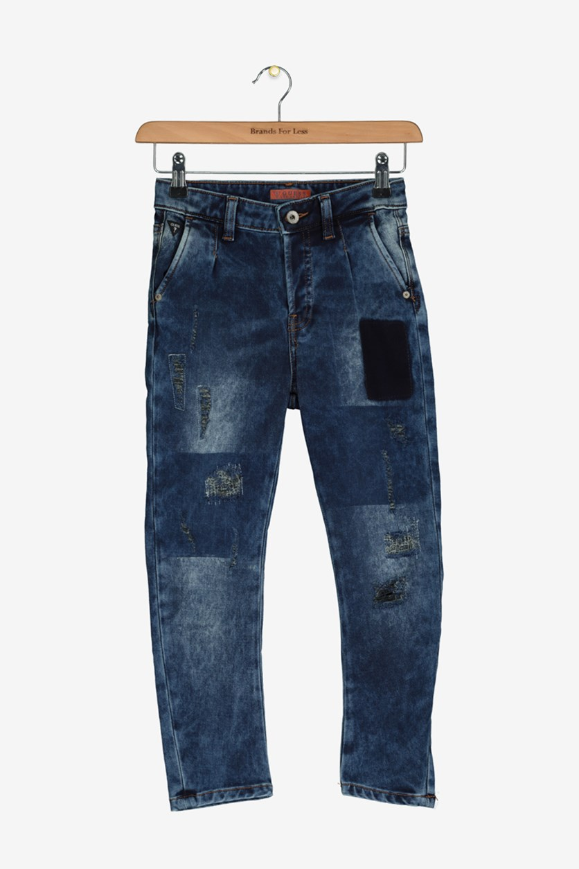 Big Girls Washed Rips Jeans, Washed Blue