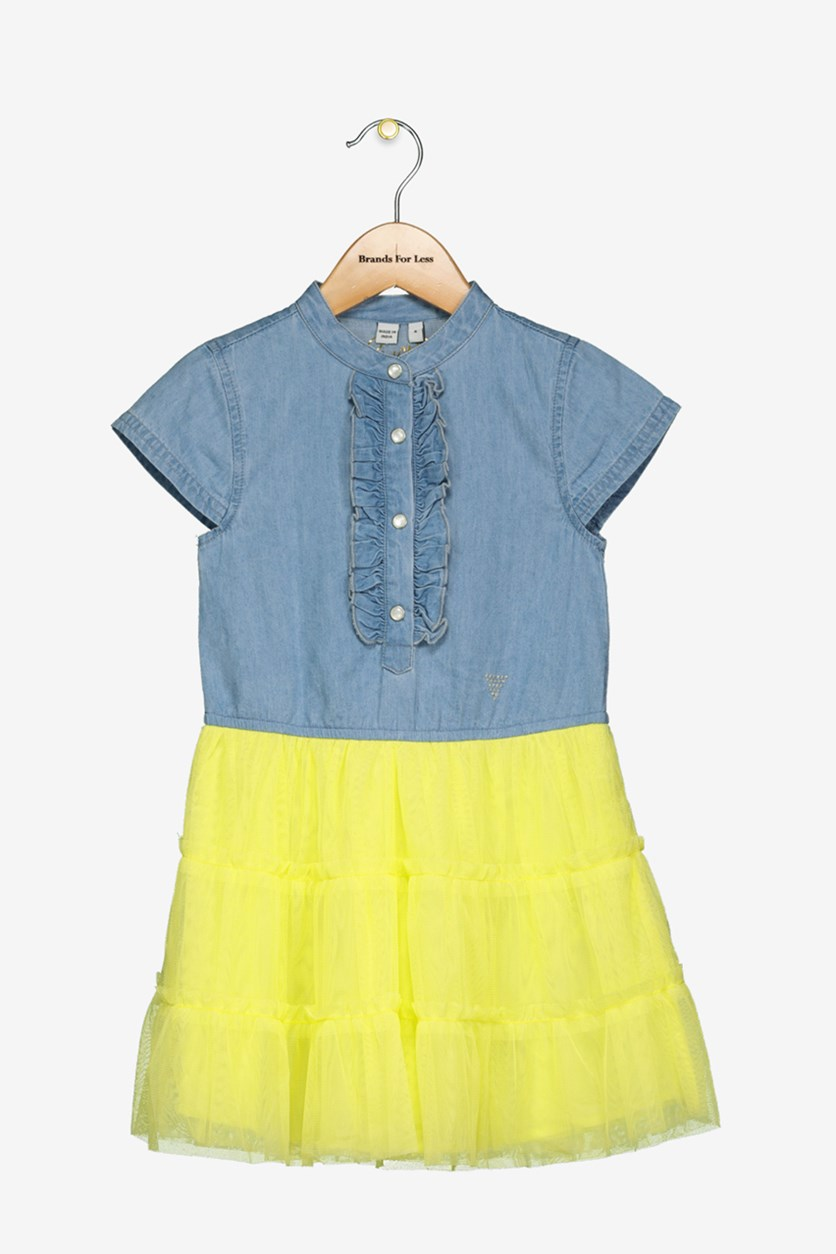 Toddler Girls Layered Dress, Blue/Yellow