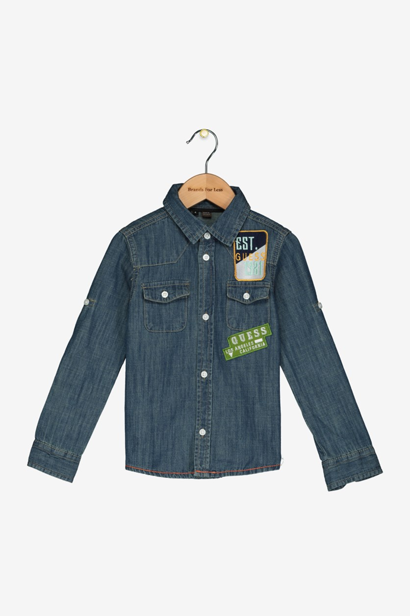Toddlers Girls Denim Patch Shirt, Washed Blue
