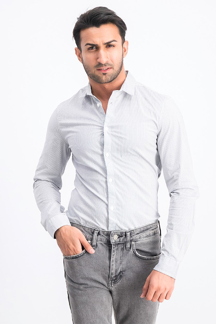 Men's Slim Fit Triangle Printed Stripe Shirt, White Combo