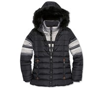 S. Rothschild Girls' Stripe Vestee Active Puffer Jacket with Faux Fur Trim, Black