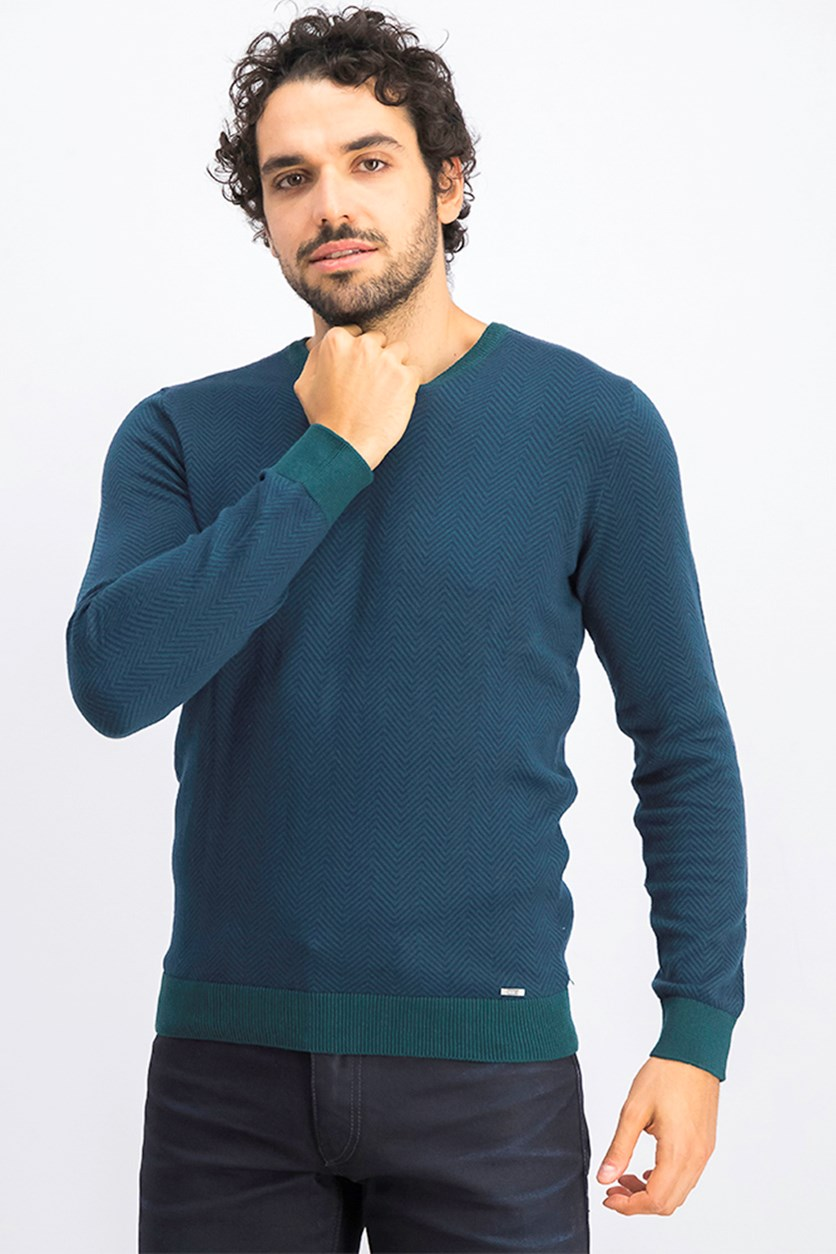 Men's Herringbone V-Neck Sweater, Navy/Green