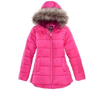 Rm 1958 Big Girls Ashlyn Hooded Jacket with Faux-Fur Trim, Pink