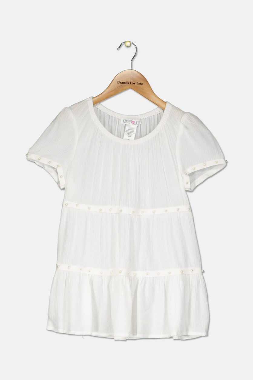 Big Girls Pearl Trim Gauze Top, White