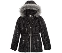 S. Rothschild Big Girls Hooded Metallic-Print Puffer Jacket with Faux-Fur Trim, Black