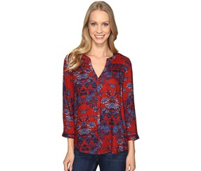 Lucky Brand Vintage Printed High-Low Shirt, Red