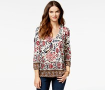 Lucky Brand V-Neck Printed Top, Red/White