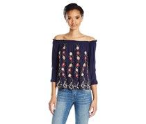 Lucky Brand Women's Off-The-Shoulder Top, Navy