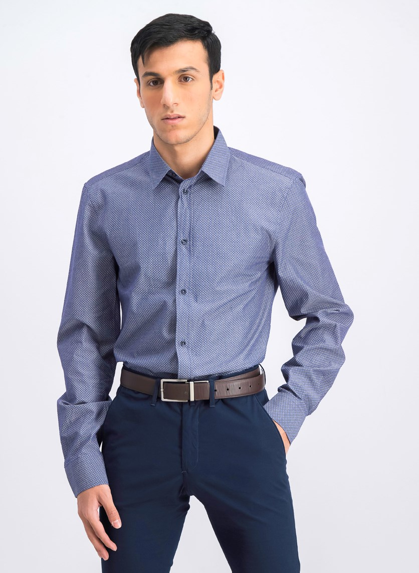 Men's Regular Fit Printed Shirt, Indigo