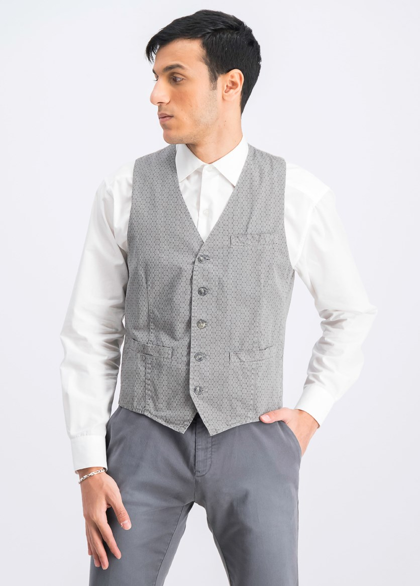 Men's Printed Vest, Grey