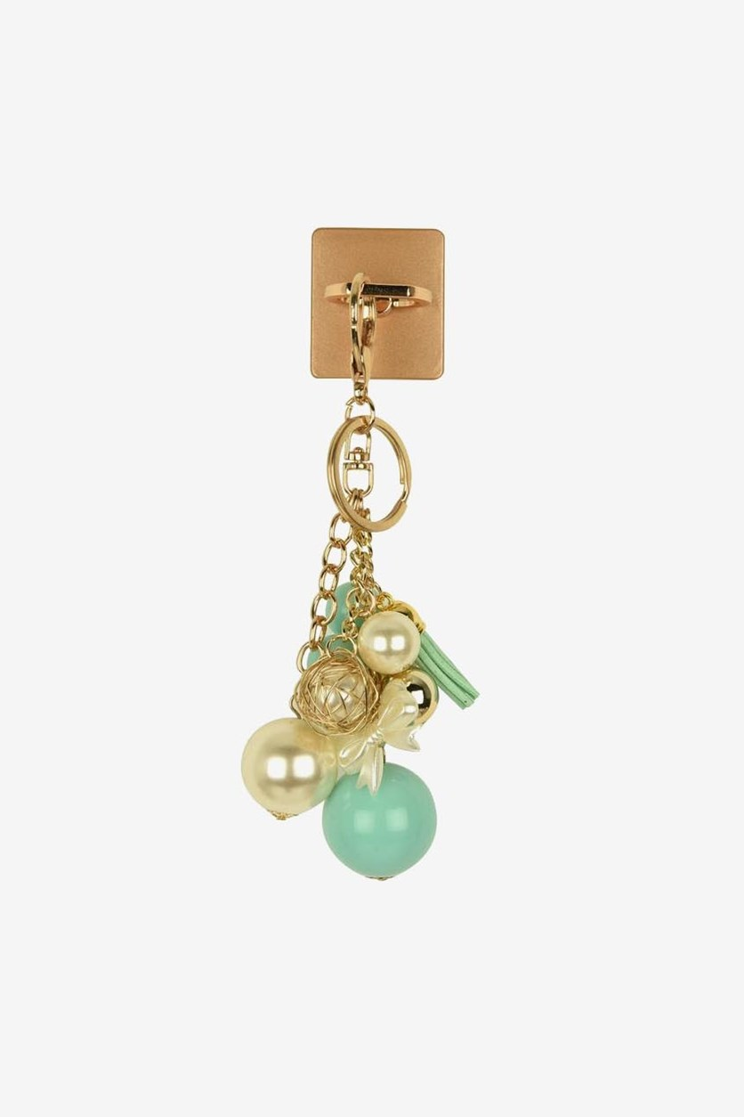 Phone Ring Holder & Pearl Keychain , Turquoise/White Gold