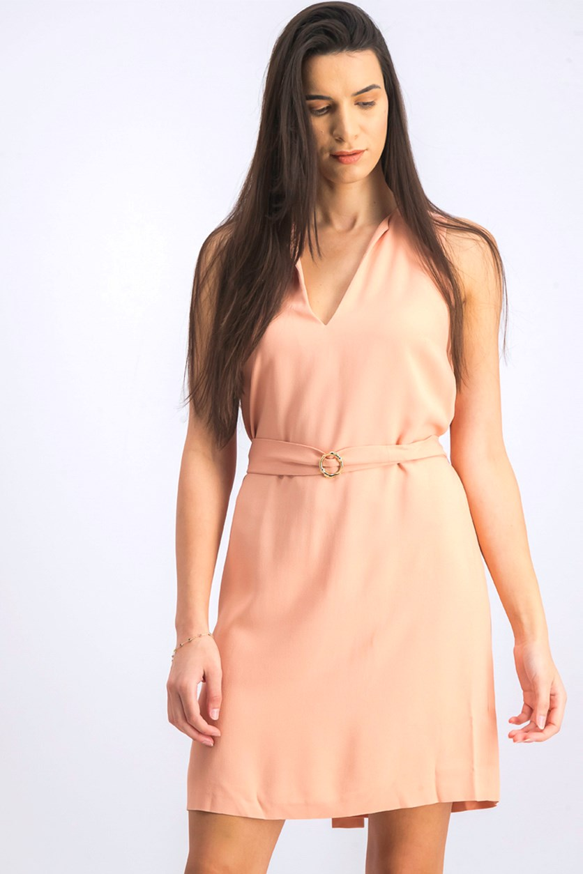 Women's Belted Plain Dress, Dark Peach