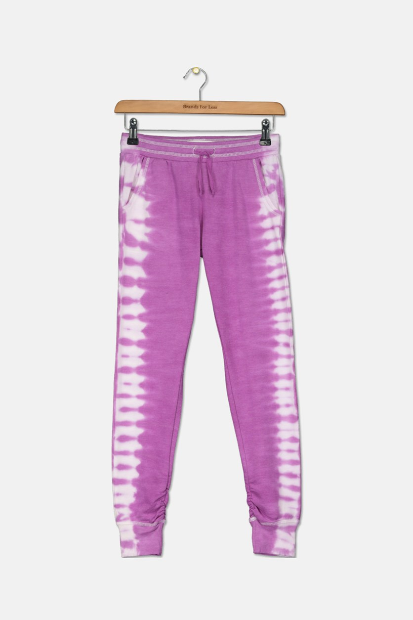 Kids Girl's Tie Dye Pants, Purple