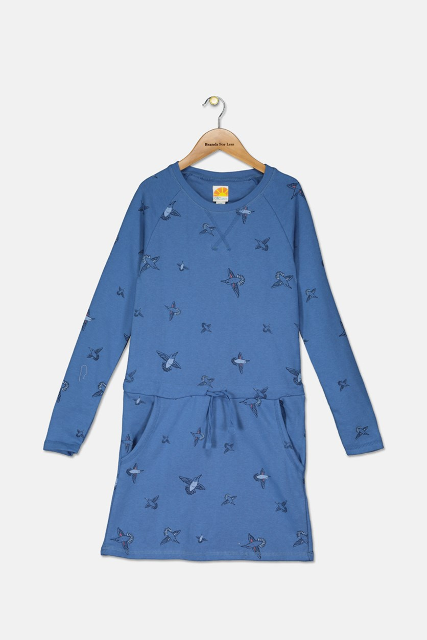 Kid's Girl's Printed Dress, Blue