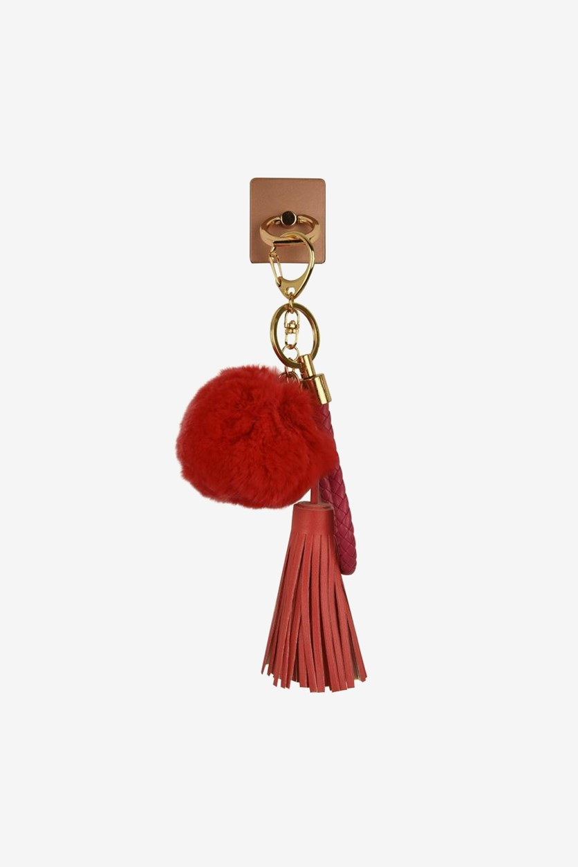 Ring Ball & Hairs Keychain for Smartphones, Pink/Red