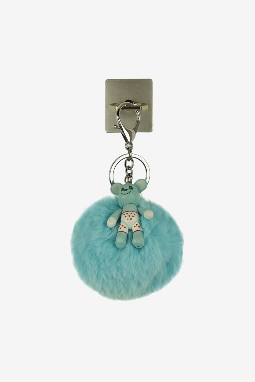 Phone Ring Holder & Hairs Small Keychain, Turquoise