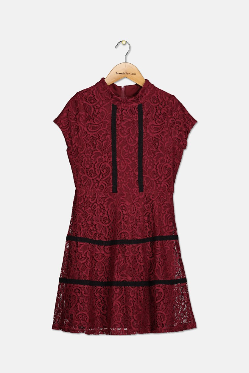 Big Girls Cap-Sleeve Lace Dress, Burgundy
