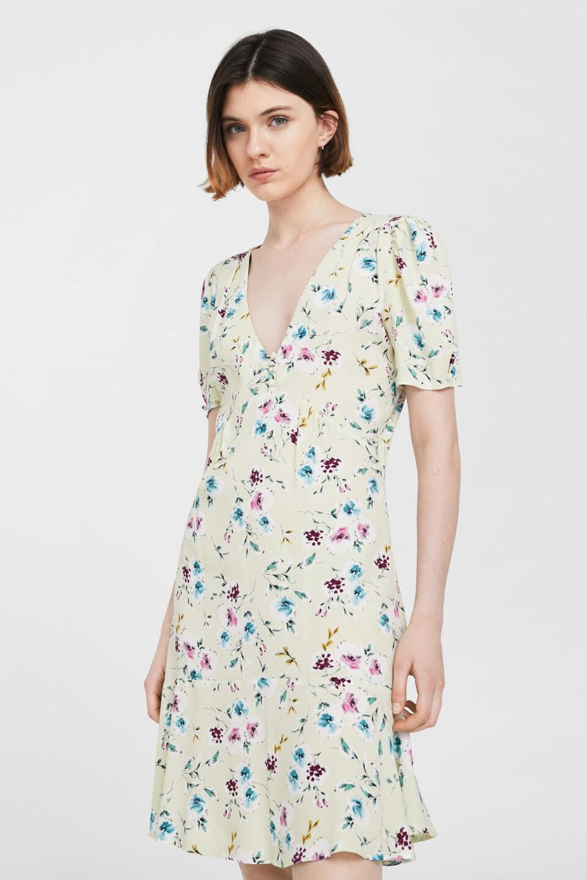 Women Floral Pattern Dress, Aqua Green,