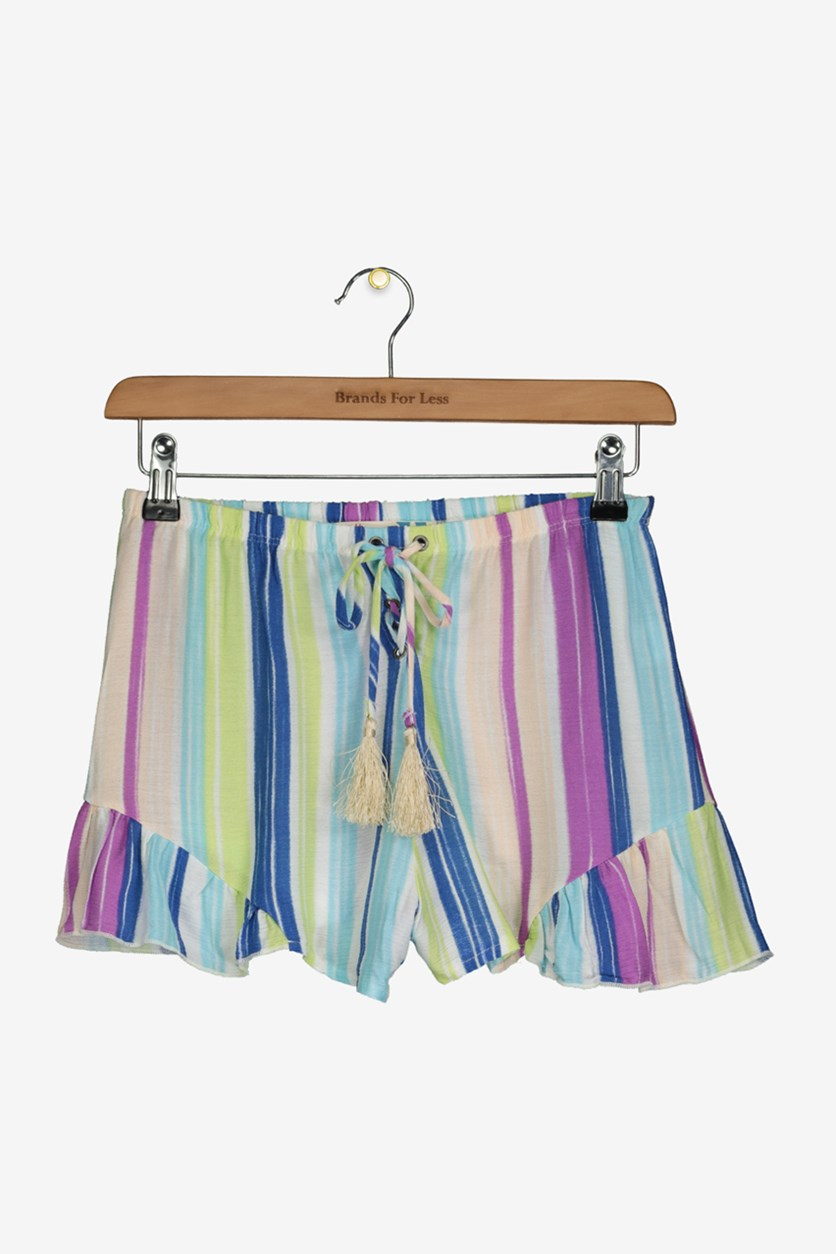 Girls' Faded Striped Shorts, Combo