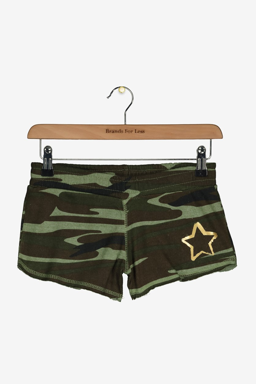 Girls' Kids Graphic-Print Camouflage Shorts, Green/Brown Combo