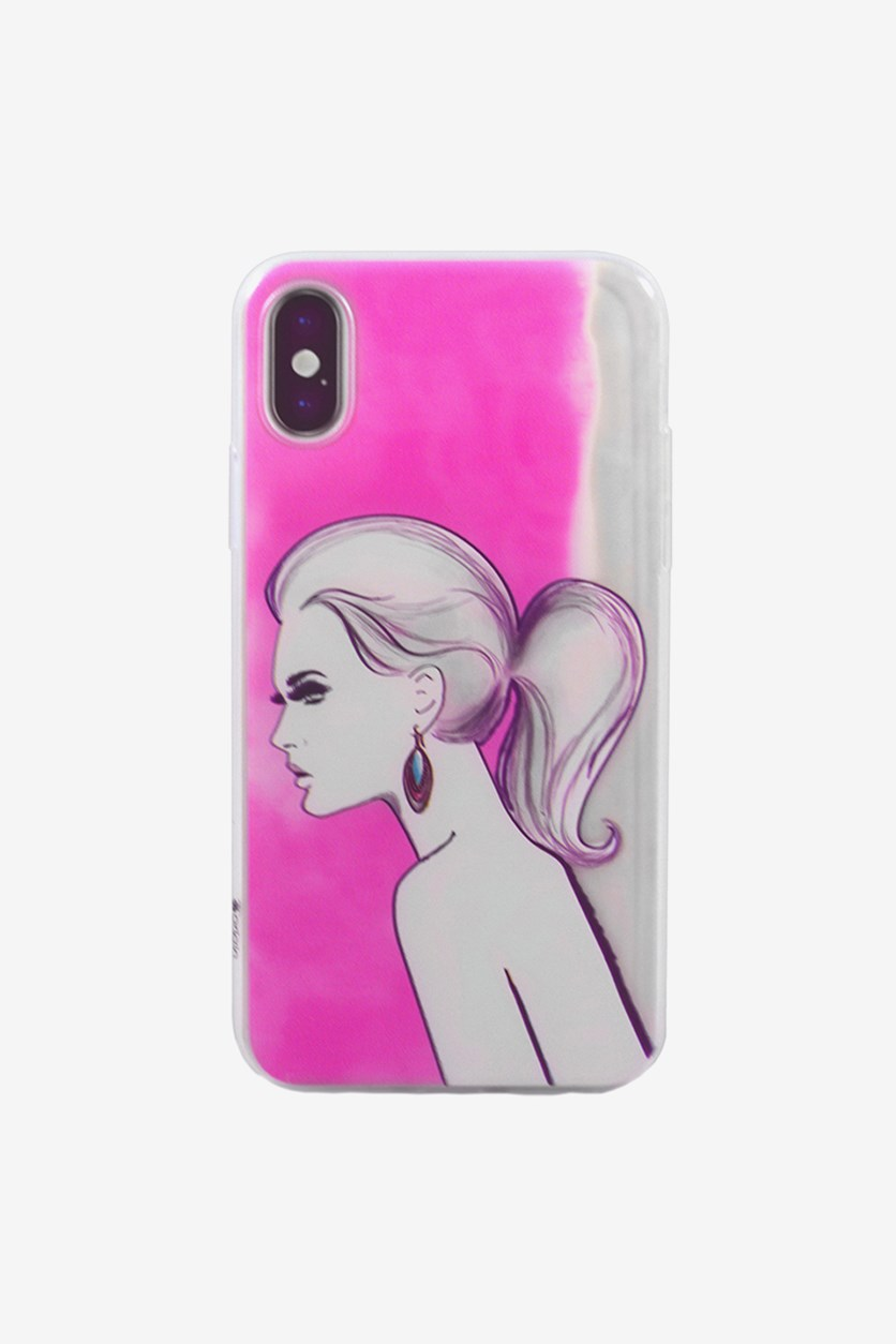 iPhone X Pony Tail Flexible Soft TPU Case, Pink/Transparent